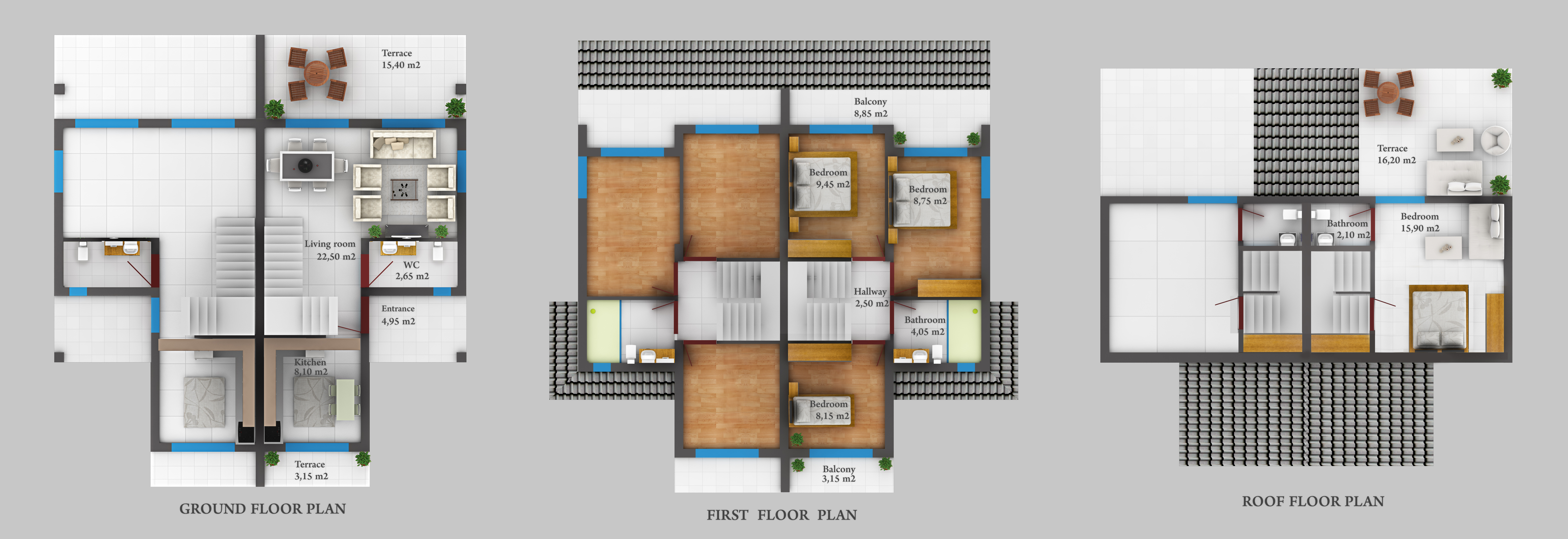 GROUND FIRST ROOF FLOOR PLAN